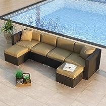 Hot Sale Urbana 6 Piece Wicker Outdoor Sectional Sofa Set with Sunbrella Heather Beige (5476-0000) Cushions