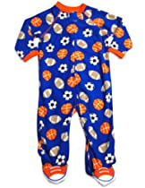 Little Me - Newborn Boys Long Sleeve Footed Sports Blanket Sleeper, Royal, Orange 30758-6Months