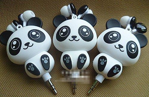 1Pc New Head Set For Mp3 Mp4 3.5Mm Jack Plug Classic Design Panda Figure Retractable In-Ear Earphone Earbuds Ear Bud