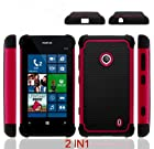 (BLACK/HOT PINK) 2 IN 1 Hard Protector Cover+Soft Silicon Case (shockproof design HYBRID CASE FOR Nokia Lumia 521