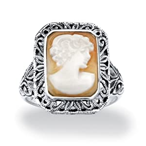 PalmBeach Jewelry Genuine Shell Cameo Sterling Silver Antique-Finish Ring