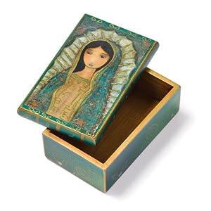VIRGIN OF GUADALUPE Wood Keepsake Box Latin American Art Virgin Mary Flor Lario