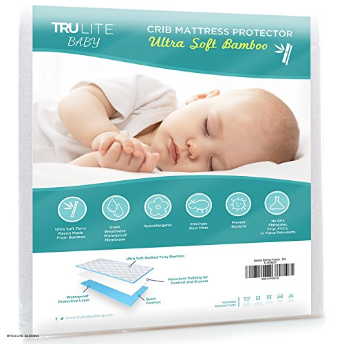 Baby Crib Mattress Protector Pad - The Softest Bamboo Rayon Fiber Quilted Terry - Waterproof & Hypoallergenic - Protect from Dust Mites & Mold - TRU Lite Bedding Crib Size (Baby Mattress Pads compare prices)