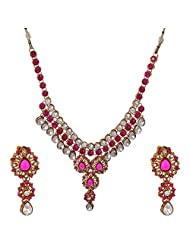 I Jewels Traditional Gold Plated Kundan Necklace Set With Maang Tikka For Women (Rani) (Ij225Q)