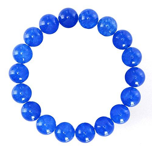 BRCbeads Gemstone Bracelets Natural Sapphire Jade Genuine Gemstones Birthstone Handmade Healing Power Crystal Beads Elastic Stretch 12mm 8.5 Inch with Gift Box Unisex (Natural Sapphire Stone compare prices)