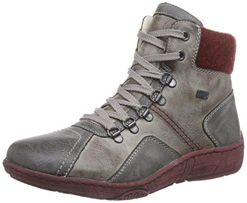 Remonte DorndorfD3876 - Stivali Combat, gamba corta, imbottitura calda donna , Grigio (Grau (asphalt/cigar/bordeaux / 45)), 42