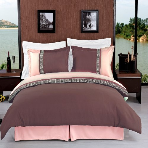 Wrinkle-Free Astrid Taupe With Beige King/Cal King Embroidered 3 Pc Duvet Cover Set By Royal Hotel Collection front-988962