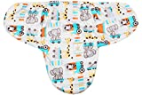 Ole Baby Elephant Kitty Girafe print Comfortable Swaddle Blanket, Adjustable Infant Wrap With Velcro Closure , Soft Furry in Blue,White and Orange.0-9 months