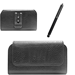 DMG Premium PU Leather Cell Phone Pouch Carrying Case with Belt Clip Holster for Xiaomi Redmi 2 (Black) + Touch Screen Stylus