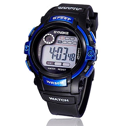 {Factory Direct Sale} Digital Glow Acrylic Led Alarm Luminous Waterproof Sports Watch For Men Boy Unisex (Blue)