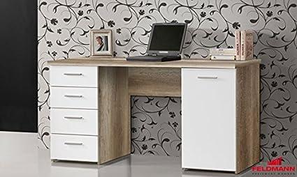 Schreibtisch PC Tisch 62038 eiche antik weiss matt