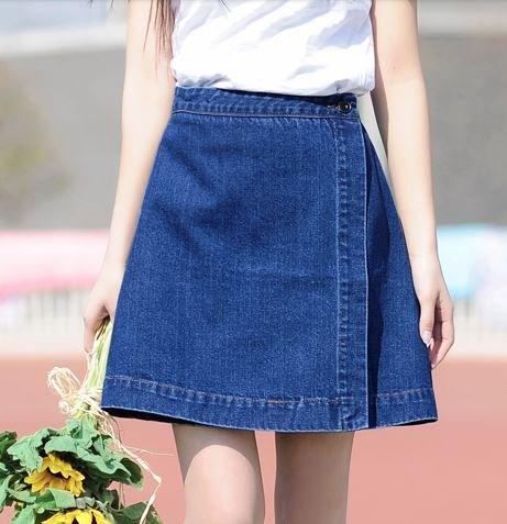 (ALLURE) 台形 デニム ラップスカート Aライン ミニ ミモレ丈 ひざ丈 ブルー AF0510