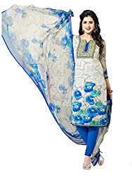 PShopee Blue Synthetic Printed Unstitched Salwar Suit