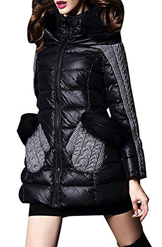 LIYAYI Womens Fashion Lightweight Block Fur Hoodie Down Coats Jacket<br />