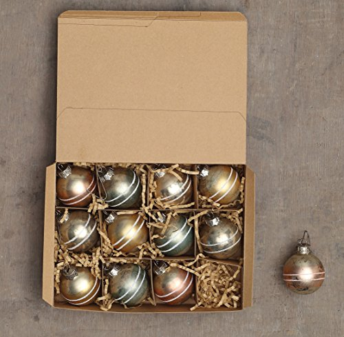 Creative Co-op 2-Inch Round Mercury Glass Ball Ornaments In Seasons Greetings Gift Box, 4 Colors, Set of 12