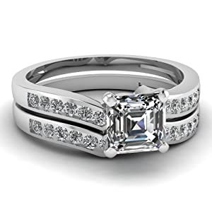 Sparkly 0.60 Ct Asscher Cut Diamond Engagement Wedding Rings Channel Set E-Color 14K