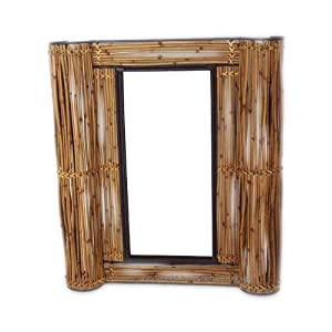 Bamboo Bathroom Tropical Plantation Wall Mirror Decor Home Kitchen