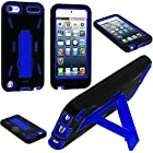 myLife Black + Royal Blue Layered Survivor (Built In Kickstand) Hybrid 3 Layer Case for Apple iPod 5 (5G) 5th Generation iTouch (External Silicone Bumper Flex Gel + Internal 2 Piece Rubberized Snap On Protector)