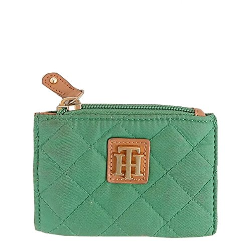Tommy Hilfiger Auth Green Quilted Contrast Trim Coin Pouch Purse