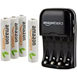 AmazonBasics AAA Rechargeable Batteries (4-Pack) and Ni-MH AA & AAA Battery Charger With USB Port Set (Tamaño: AAA 4 Pack)