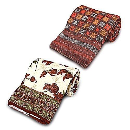 Jaipuri diseño de Little India 2 piezas Juego de funda de edredón para cama individual Razai algodón naranja