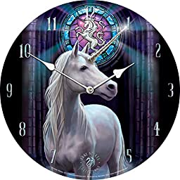 Licensed Anne Stokes Fantasy Enlightenment Unicorn Bedroom Wall Round Gothic Clock