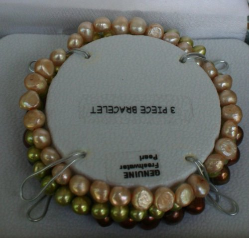 Brilliant 3 Piece Bracelet Set of Genuine Freshwater Pearls - Soft Beige, Copper, Seafoam Green