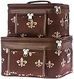 World Traveler Fleur De Lis Collection Cosmetic Train Case (2 piece set)