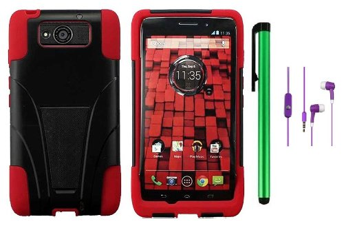Motorola DROID ULTRA MAXX XT1080M / Motorola Obake (Verizon) Accessory - Premium Stand Protector Hard Cover Case + 3.5MM Stereo Earphones + 1 of New Metal Stylus Touch Screen Pen (Red / Black)