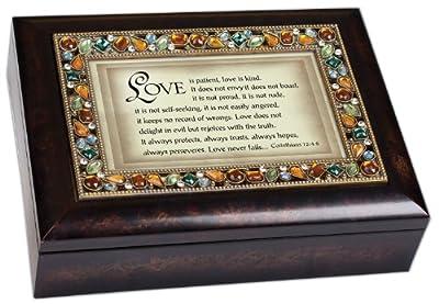 I Corinthians 13:4-6 Italian Style Burlwood Finish Jewel Lid Music Jewelry Box Plays Amazing Grace