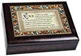 Love is Patient, Love is Kind I Corinthians 13:4-6 Italian Style Burlwood Finish Decorative Jewel Lid Musical Music Jewelry Box Plays Amazing Grace