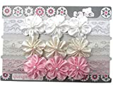 Head Band with lace and 3 satin flowers with a pearl centre 3 pack white, cream and pink