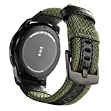 Gear S3 Bands Nylon, Maxjoy S3 Frontier Classic Band 22 mm Woven Nylon Replacement Strap Large Sport Wristband Bracelet with Stainless Steel Metal Buckle for Samsung Gear S3 Smart Watch, Army Green (Color: Nylon Band for Samsung Gear S3 - Army Green)