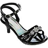 Little Girl 9 to Youth 4 Pageant Heel Girl's Shoe with Ankle Strap & Rhinestones