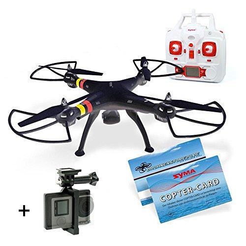 SYMA-X8C-DS24-GoPro-Halterung-Aluminium-schwarz-Quadrocopter-Venture-Drohne-schwarz-Copter-Card