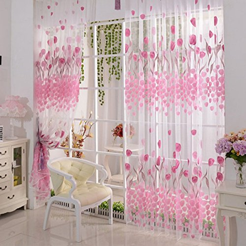 Generic 200*100cm Tulip Print Voile Curtains for Living Room Window Curtain Tulle
