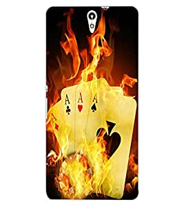 ColourCraft Cards on Fire Design Back Case Cover for SONY XPERIA C5 ULTRA