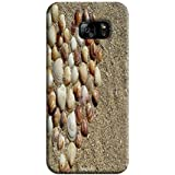 Tecozo Designer Printed Back Cover For Samsung Galaxy S7, Samsung Galaxy S7 Back Cover, Hard Case For Samsung Galaxy S7, Case Cover For Samsung Galaxy S7, (Heart Of Shells In Sand Design,Pattern)