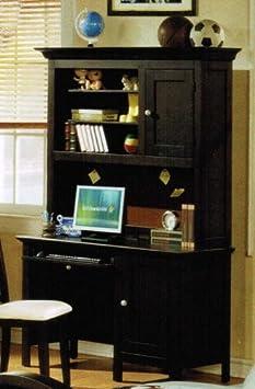 Desk with Hutch Soccer Design Handles in Espresso Finish