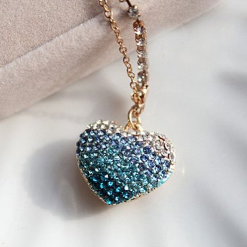 CJB Dust Plug / Earphone Jack Accessory 3D Heart Rhinestone Blue for iPhone 4 4s S4 5 All Device with 3.5mm Jack (US Seller)
