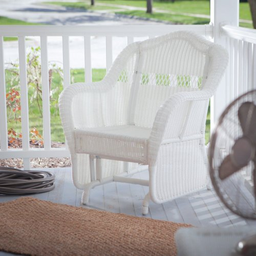 Coral Coast Coral Coast Casco Bay Resin Wicker Outdoor Glider Chair, White, Resin Wicker front-652233