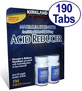 Kirkland Signature Maximum Strength Acid reducer  Ranitidine tablets USP  150MG  95 Tablets  2-Count  190 Total tablets.