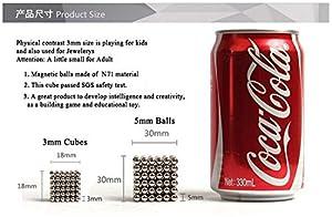 Han 216PCS/Set Educational Magic Cubes NdFeB Magnet Balls 3MM Silver Cube Toys With Tin Box
