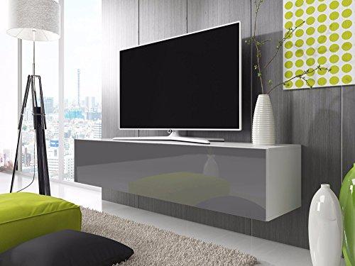 TV-Lowboard-Schrank-Simple-200-cm-wei-matt-glnzend-grau