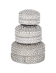 National Handloom Metal Ring Box, Set Of 3 (White)