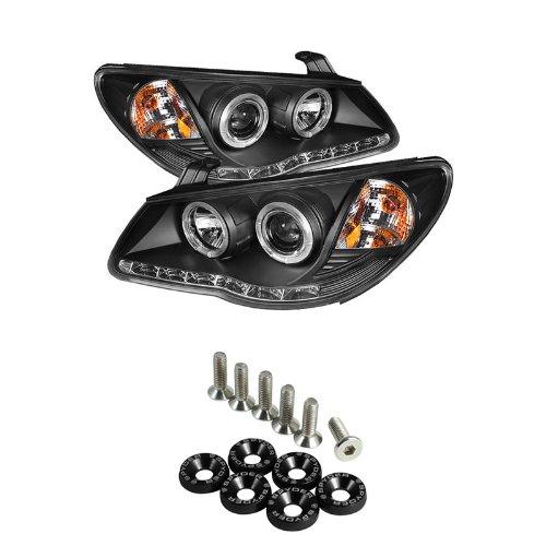 Hyundai Elantra Drl Led Projector Headlights - Chrome & Spyder Washer 6Pcs - Black