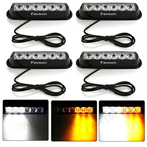 Favson 12-24V Universal 6 LED White&Yellow Strobe High Power Flasher Lights Car Truck Warning Caution Emergency Construction Strobe Light (4 pcs) (Honda Quad Head Lights compare prices)