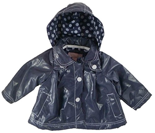 Baby Girl's Snap Front Rain Jacket with Removable Hood