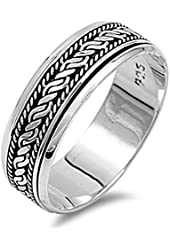 Sterling Silver Women's Bali Rope Spinner Ring (Sizes 6-13)