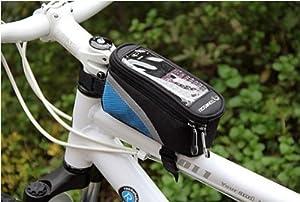 Tront kleine Fahrradtasche Rahmentasche Oberrohrtasche Handytasche mit klarem PVC-Bildschirm (Blau) from Tront